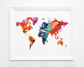 Geometric World Map Art Print Instant Download Printable Etsy - World map full size download
