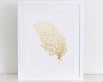 Feather Art Print, Gold Foil Wall Art, Instant Download, Printable Home Decor, Digital Art Print,  Feather Printable, Gold Feather Print