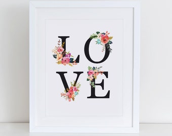 Love Floral Art Print, Love Heart, Instant Download, Printable Home Decor, Digital Art Print, Love Floral Printable, Valentines Gift