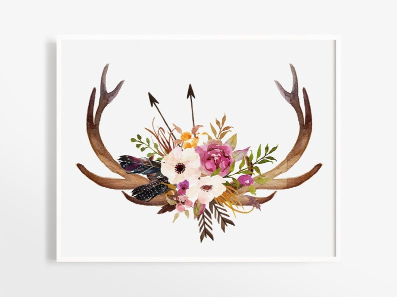 graphic about Printable Deer Antlers named Deer Watercolor Floral Artwork Print, Deer Antlers, Farmhouse Decor, Boho Stylish, State Household Decor, Rustic Wall Artwork, Boho Decor