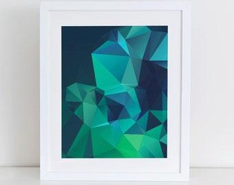 Abstract Geometric Art Print Printable, Instant Download, Printable Home Decor, Digital Art Print, Blue Green Abstract, Abstract Wall Decor
