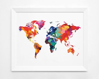 Geometric World Map Art Print, Instant Download,  Printable Decor, Digital Art Print, World Map Big Size, Colorful World Map