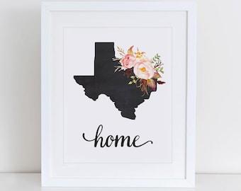 Texas Art Print, Texas Printable Art Print, Instant Download, Texas Wall Art, 8x10 Art Print, Texas Nursery Art Print