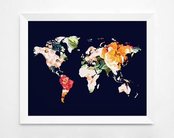 Floral World Map Art Print, Instant Download,  Printable Decor, Digital Art Print, 8x10 16x20 11x14 World Map, Floral Wall Decor