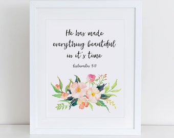 He Has Made Everything Beautiful In Its Time Art Print, Instant Download, Nursery Art Print, Floral Nursery Print, Nursery Wall Decor
