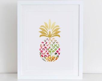 Pineapple Art Print, Printable Pineapple, Pineapple Print,  Instant Download,  Printable Home Decor, Digital Art Print, Tropical Print