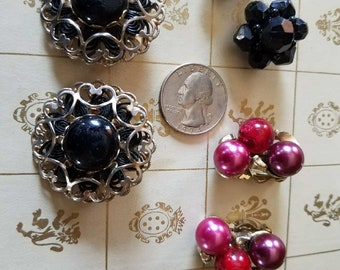 Vintage Retro Costume Jewelry Clip on Earrings
