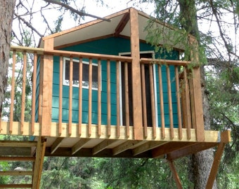 one tree house plans cheap zelkova treehouse plans to build in two trees or free standing alpino for etsy