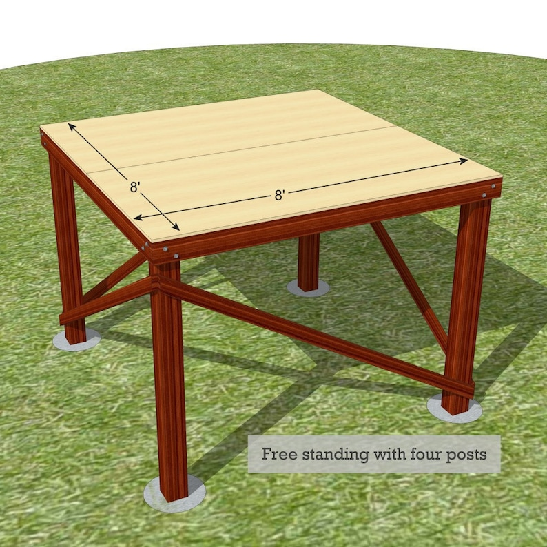 8' x 8' free standing platform for treehouses image 0