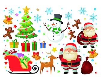 Christmas Elements Digital Clipart Santa Claus Clip Art Etsy