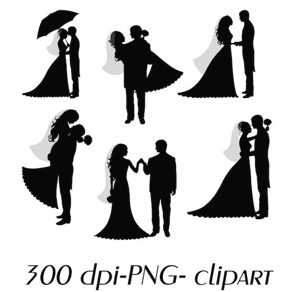 Wedding Couple Happy Bride Groom Monochrome Silhouette