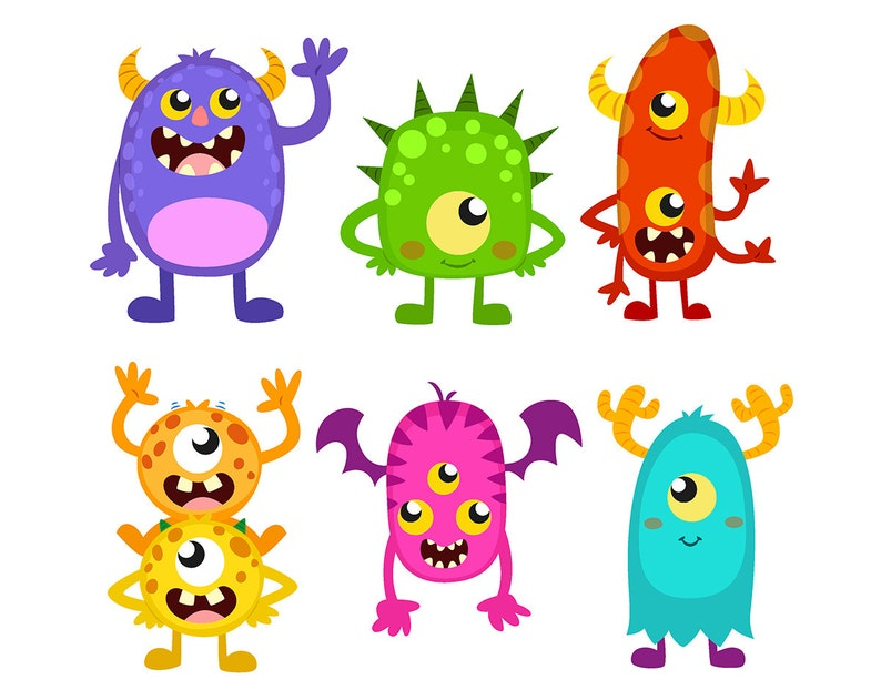 SALE Monster CLIPART Cute Funny Monsters Cliparts Monster ...