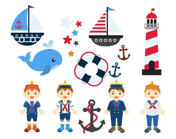 venta náutica niños imágenes prediseñadas Set Clip arte ancla | Etsy