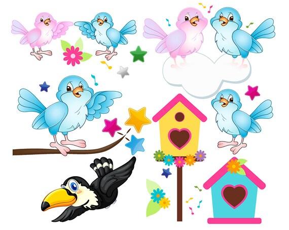 sale bird clipart set love birds clip art set birds party etsy rh etsy com love birds clip art free love birds clip art to color