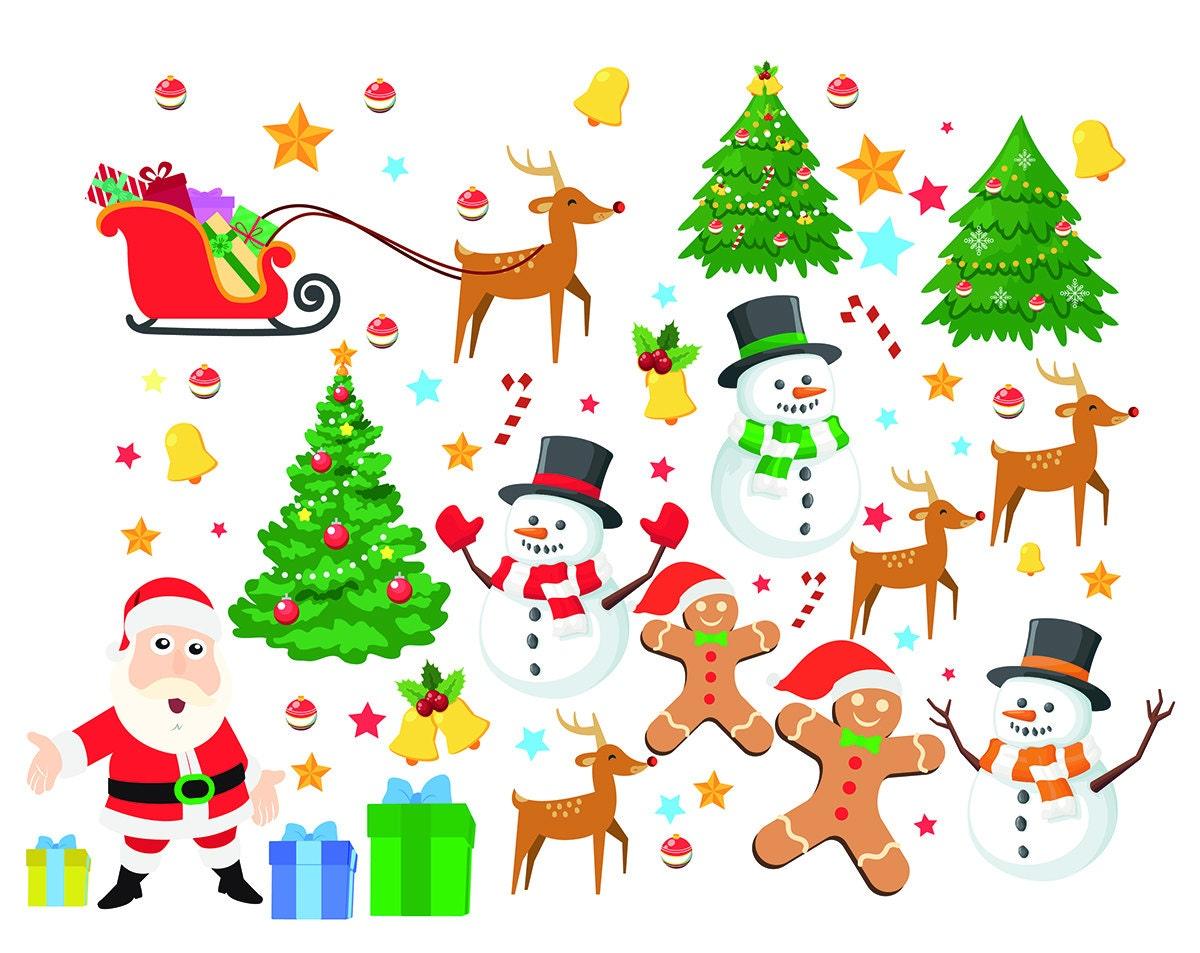 Weihnachten Elemente digitalen Clipart Weihnachtsmann Clip Art | Etsy