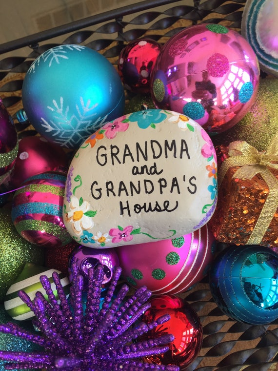 Grandma And Grandpas House Garden Stone Painted Rocks Etsy