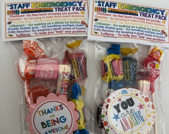 STAFF Emergency Treat Pack -Sweet Thoughts goody bag, Happy Birthday, friends, co-workers, secretary, have a great day, smile, funny GAG BAg
