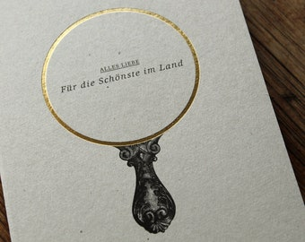 """ALLES LIEBE - """"Für die Schönste im Land"""" Folienveredelte Grußkarte mit passendem Umschlag, Klappkarte B6 + Kuvert B6, Schönheit, Liebe"""