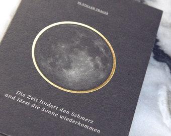 """IN STILLER TRAUER"""" folienveredelte Trauerkarte mit passendem Umschlag, Klappkarte B6 + Kuvert B6, Kondolenz, Beerdigung, Trauer, Tod"""