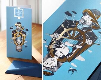 """Maritime Grußkarte Kutterkapitän, Grußmarke """"Stürmische Grüße!"""" mit Umschlag, Glückwunschkarte, Geburtstagskarte, Klappkarte, Einladung"""