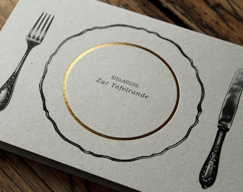 EINLADUNG - zur Tafelrunde - Folienveredelte Einladungkarte mit passendem Umschlag, Klappkarte B6 + Kuvert B6, Essenseinladung, Dinner
