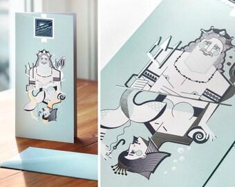 """Maritime Grußkarte """"Neptun & Nixe"""", Grussmarke """"Für meinen Göttergatten"""" mit Umschlag, Gutscheinkarte, Geburtstagskarte, Geschenkkarte"""