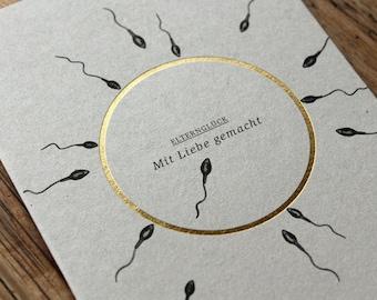 ELTERNGLÜCK - Mit Liebe gemacht - folienveredelte Grußkarte mit passendem Umschlag, Klappkarte B6 + Kuvert B6, Baby, Eltern, Geburt