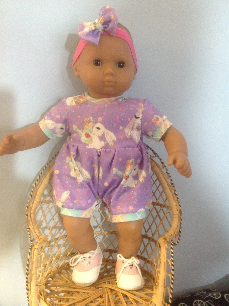 Bitty baby custom knit romper with hair bow and FREE SHIPPING
