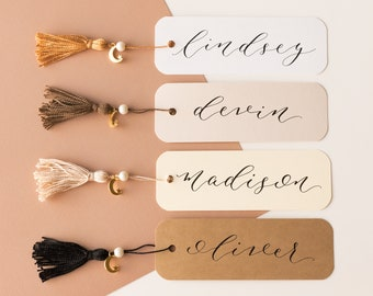 Personalized Bookmark, Customized Bookmark, Tassel Bookmark, Calligraphy Bookmark, Bookmark Custom, Bookclub Bookmarks, Stocking Stuffer