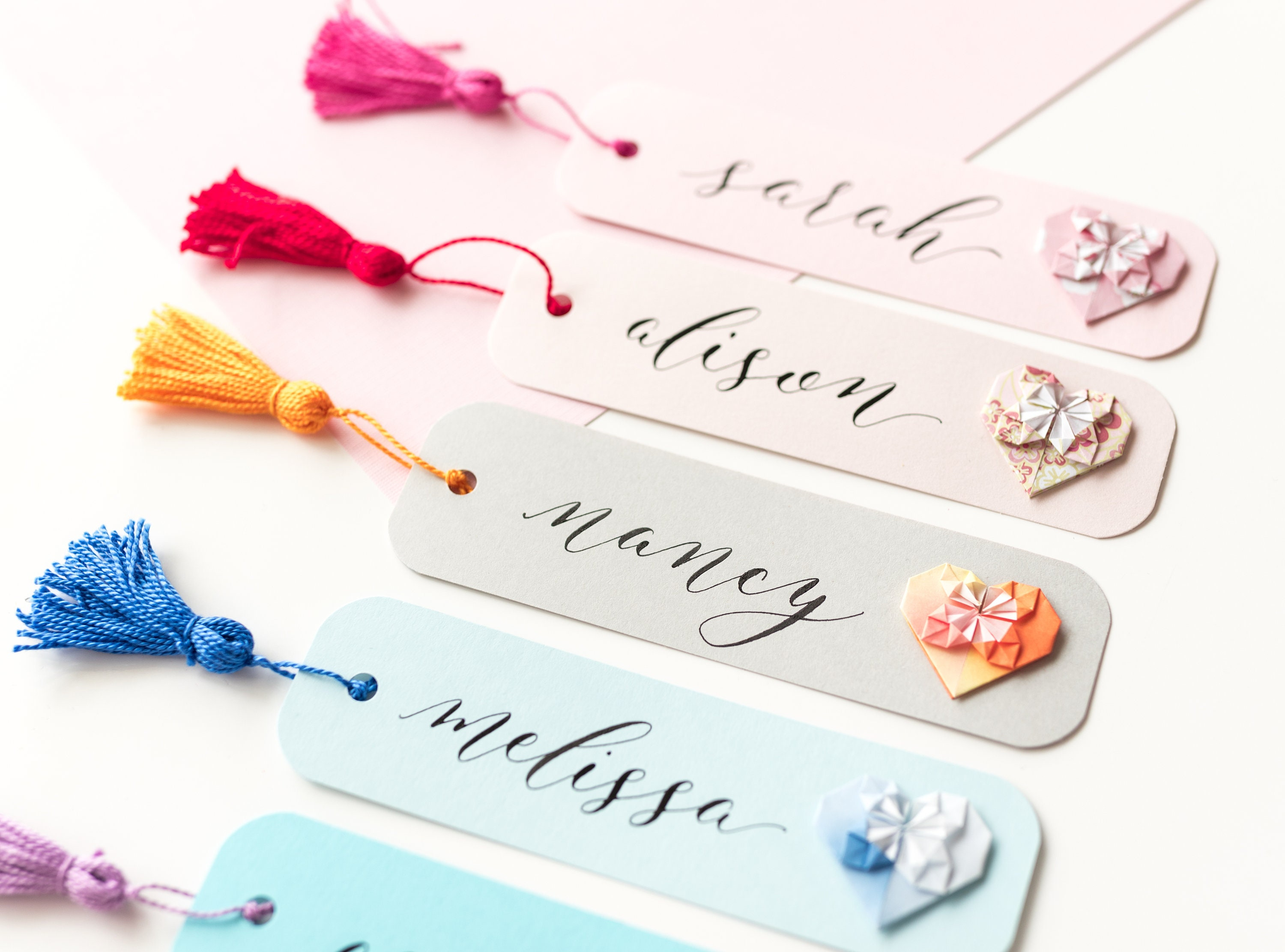 HandMade Personalised Bookmarks//Favors//Place Cards