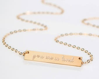 You are so loved Necklace, Anniversary Necklace, Anniversary Gift, Gift for Girlfriend from Boyfriend, Love Necklace, Rose Gold Bar Necklace