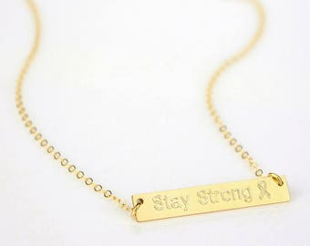 Stay Strong Necklace, Inspirational Quote, Awareness Ribbon, Be strong Gift, Cancer ribbon necklace woman cancer survivor awareness necklace