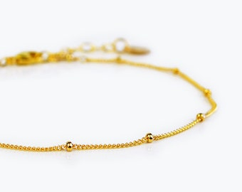 Dew Drops Bracelet, Delicate Gold Bracelet, Dainty Chain Bracelet, Thin Gold Chain, Layering Bracelet, Satellite Chain or Saturn Chain