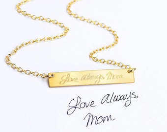 Actual Handwriting Bar Necklace, Gold Bar Necklace, Handwritten Horizontal Bar Necklace, your handwriting or text, Sterling Silver Rose Gold