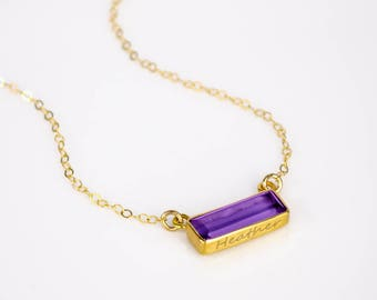 Adira Series Dainty Purple Amethyst Bar Necklace, Gold Gemstone Bar Necklace Wedding and Bridesmaids Jewelry Statement February Gemstone Bar