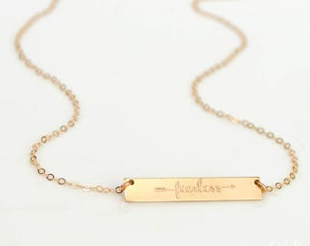 Fearless Necklace, Fearless Bar, Inspirational Quote, christmas gift, Positive Gift, mantra necklace, Bridesmaid necklace, Bridesmaid gift