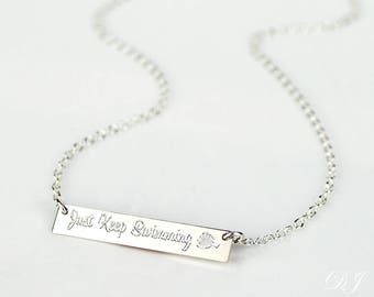 Just Keep Swimming Necklace, Inspirational Quote, Disney Finding Nemo, Finding Dory necklace, memorial breakup divorce motivation gift