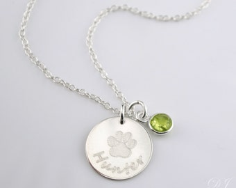 Personalized pet necklace, custom birthstone paw print necklace, Dog necklace personalized, in memory of dog pet memorial jewelry birthstone