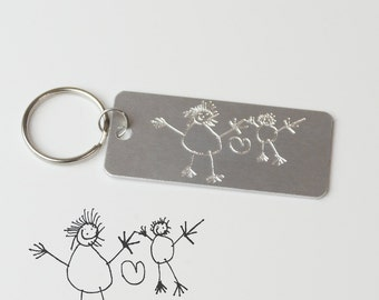 Father's day gifts for Dad, actual handwriting keyring, drawing engraved Personalized gifts from daughter monogrammed keychain gift from son