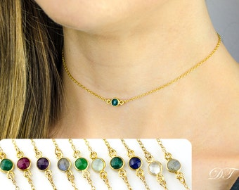 Emerald Choker Necklace, Black Choker, Layered Necklaces, tiny gemstone necklace, May birthstone choker necklace, Gold or Silver choker