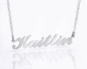 Personalized Nameplate Necklace, Sterling Silver Katie Name Plate Necklace, Custom Cut Name Necklace, Custom gift, Classic Name Necklace