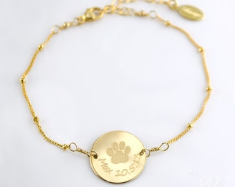 Personalized Paw Prints Bracelet, Dog or Cat Custom Bracelet, Pet Memorial Jewelry, Dog Paw Bracelet, In Memory of Pet Loss, Pet Adoption