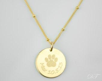 Dog necklace personalized, custom paw print necklace, pet necklace, in memory of dog, pet memorial jewelry memorial jewelry personalized dog