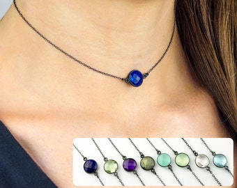 Lapis Choker Necklace, Black Choker, Layered Necklaces, gemstone necklace, birthstone choker necklace, Gold or Silver, layering necklace
