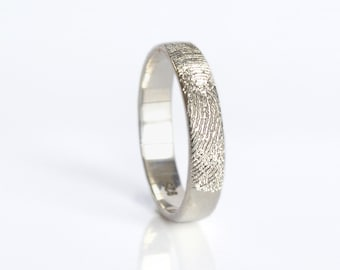 Actual Fingerprint Ring, Personalized Fingerprint Band, Custom Silver Memorial Jewelry, Engagement ring Sterling Silver, gold Engraved Ring