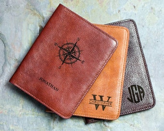 Personalized Engraved Passport Cover Genuine Leather Passport Holder 3rd Anniversary Custom Travel Wallet Sleeve Fathers Day Gift for him