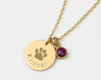 Dog Necklace with Birthstone Charm, custom paw print necklace, pet necklace, in memory of dog, pet memorial jewelry personalized dog