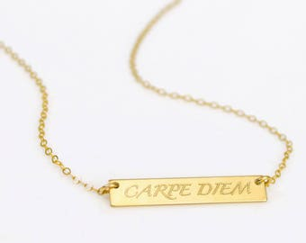 Carpe Diem Necklace, Sieze the Day Necklace, Inspirational Quote christmas gift Positive Gift mantra necklace Carpe Diem Pendant best friend