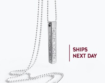 Mens necklace etsy personalized 3d bar necklace for men name bar necklace gift for him 4 sided vertical bar necklace engraved mens necklace boyfriend gift aloadofball Images