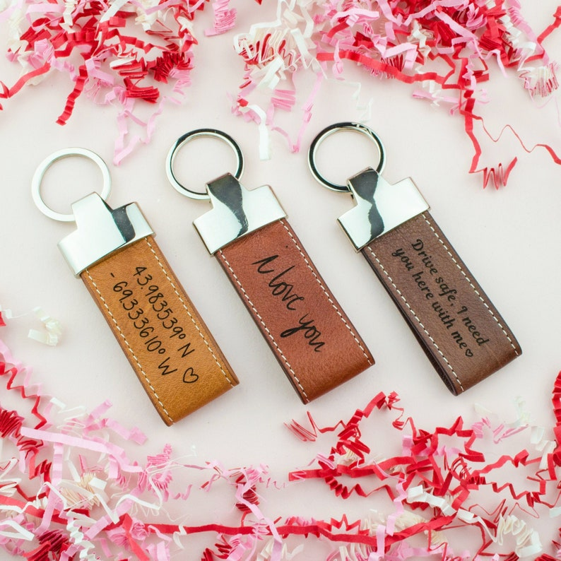 Personalized Leather Keychain Custom Gift for Him Engraved image 0